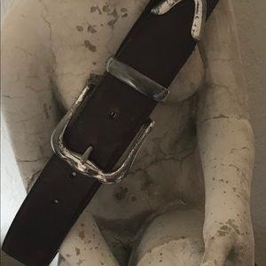 "Dark brown leather belt. 34"" long"